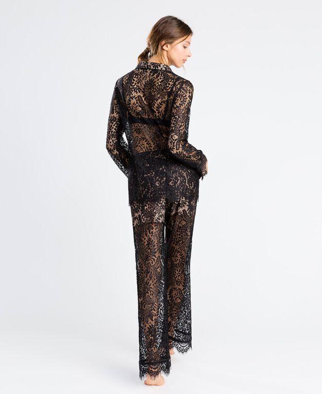 Pantaloni in pizzo smerlato Nero Donna IA8CRR-03