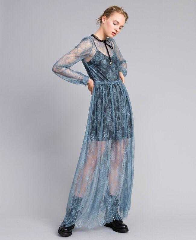 Robe longue en dentelle de Valenciennes Bleue poudre Femme PA82F2-01