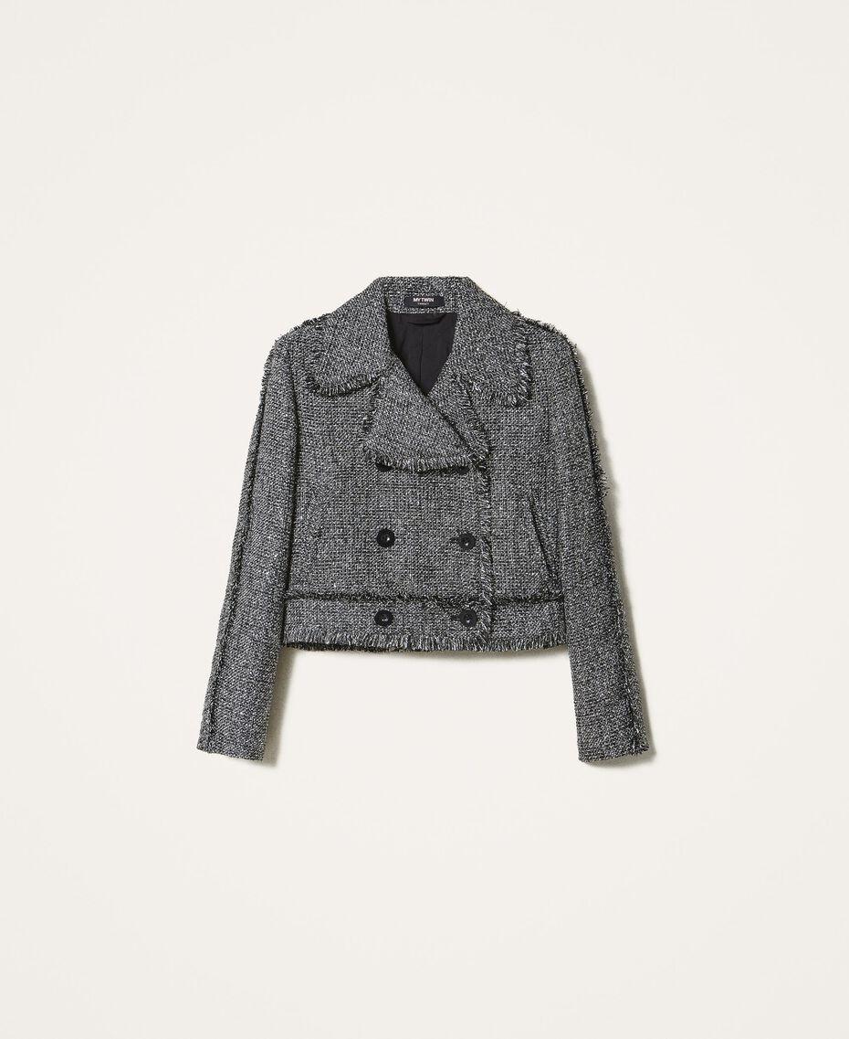 Bouclé biker jacket with sequins Black Woman 202MT218A-0S
