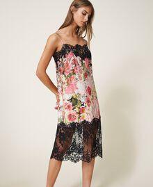 Printed satin slip dress with lace Animal Print Woman 202LL2EJJ-01