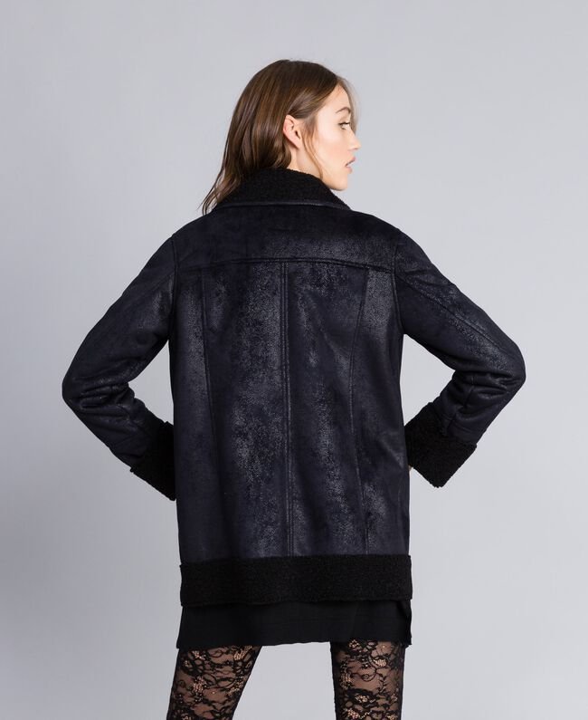 Faux shearling jacket Black / Black Woman JA82G1-04