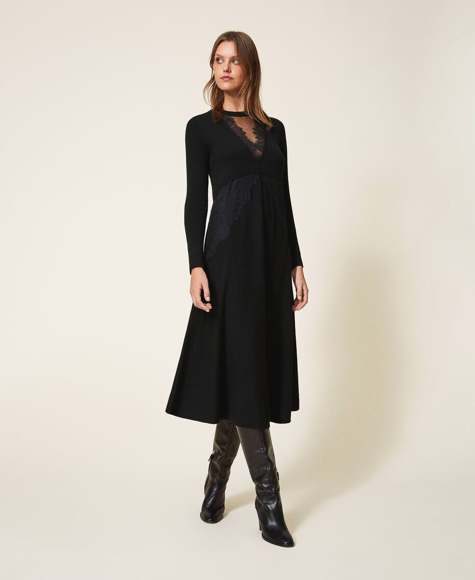 Vestido de lana mixta con encaje Negro Mujer 202TT3130-01
