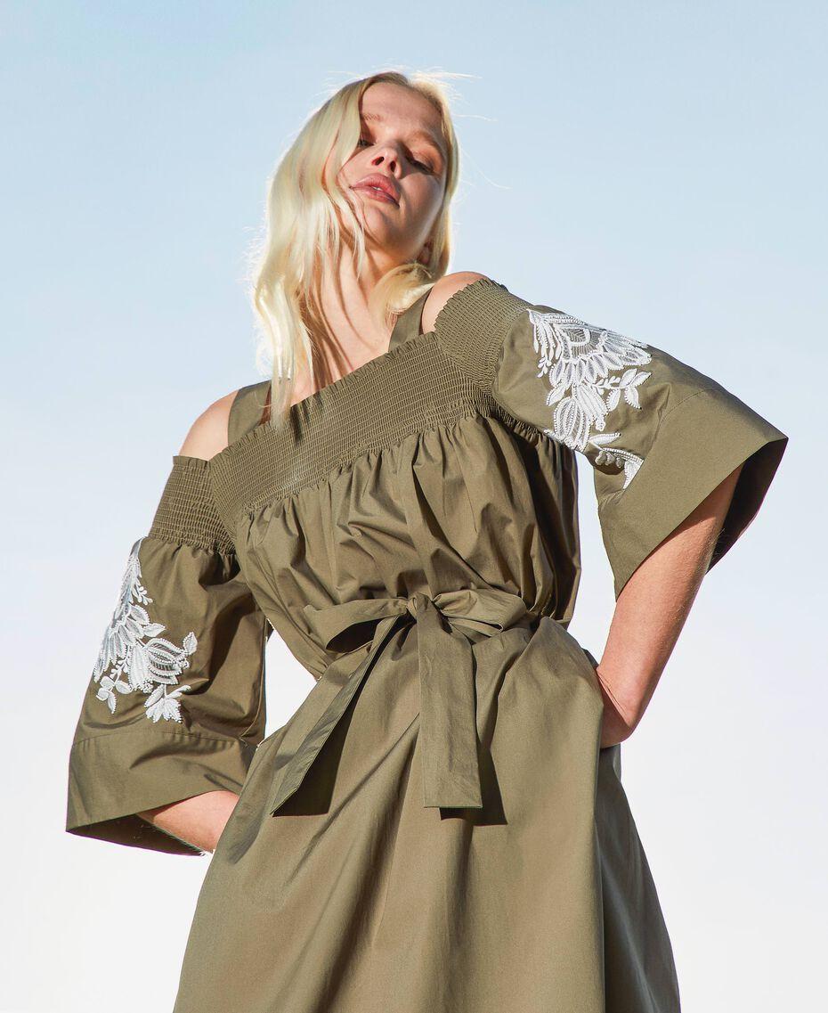 Off-shoulder poplin dress with embroidery Black Woman 211TT2475-02