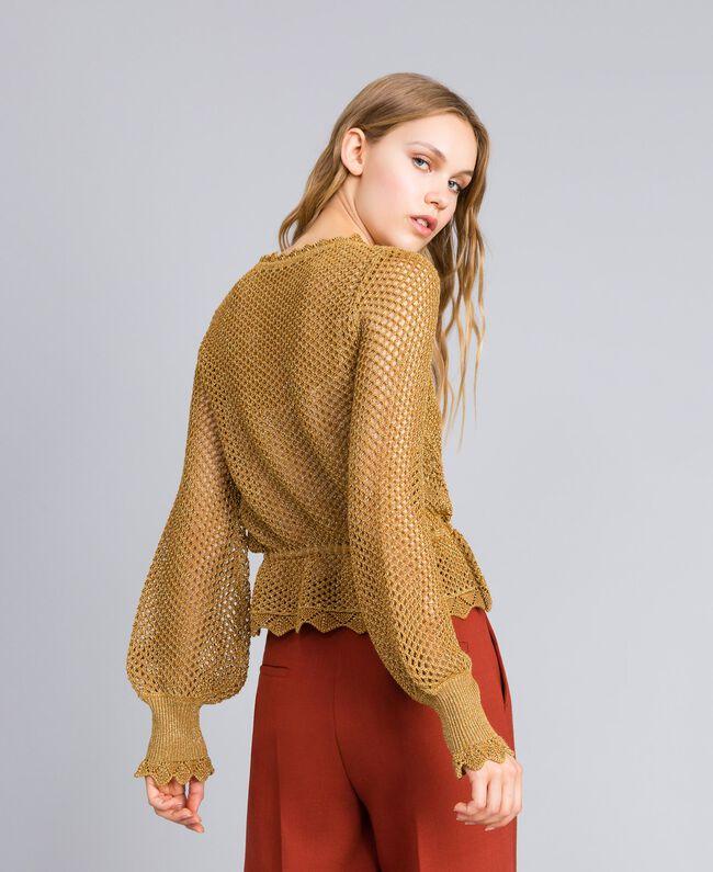 Mesh lurex jumper Gold Yellow Woman TA83EB-03