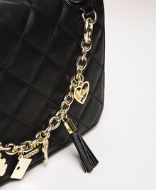 Faux leather shoulder bag with charms Vanilla White Woman 201MA7043-04