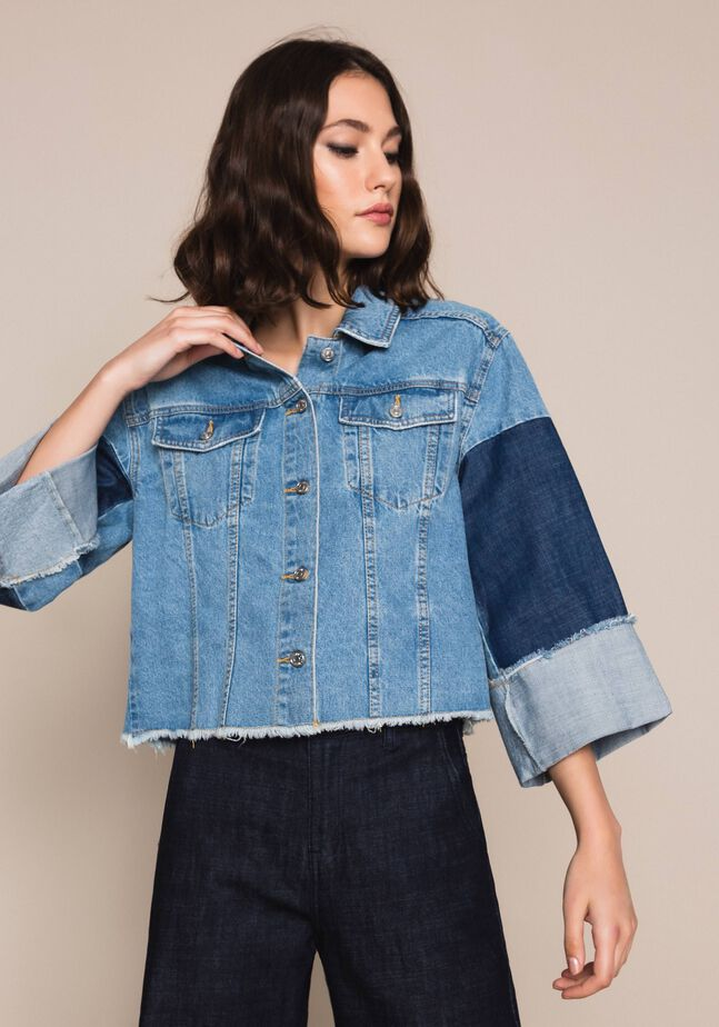 Colour block denim boxy jacket