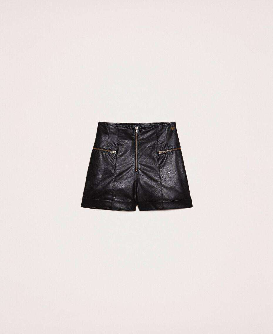 Shorts aus Lederimitat mit Reißverschlüssen Schwarz Frau 201TP241B-0S