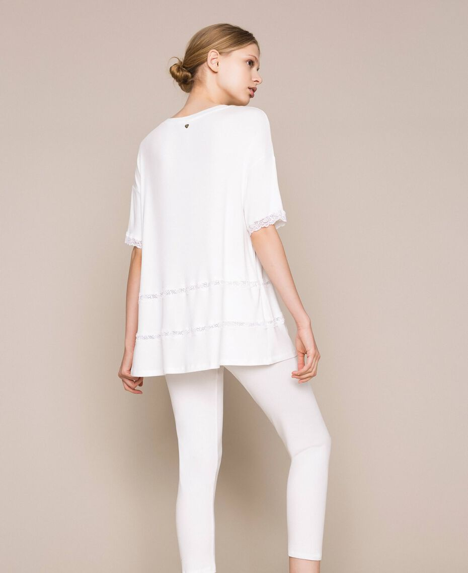 Ribbed pyjamas with lace Ivory Woman 201LL25BB-03