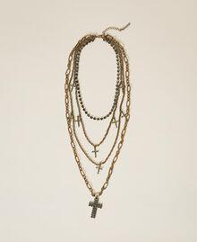 Collier multichaîne avec croix strassées Noir Diamant Femme 202TA4316-02
