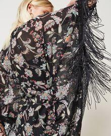 Vestido caftán de muselina de flores Estampado Flor India Negro Mujer 211TT2683-05
