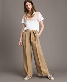 """Pantalon en lin Marron """"Désert Froid"""" Femme 191TT230A-02"""