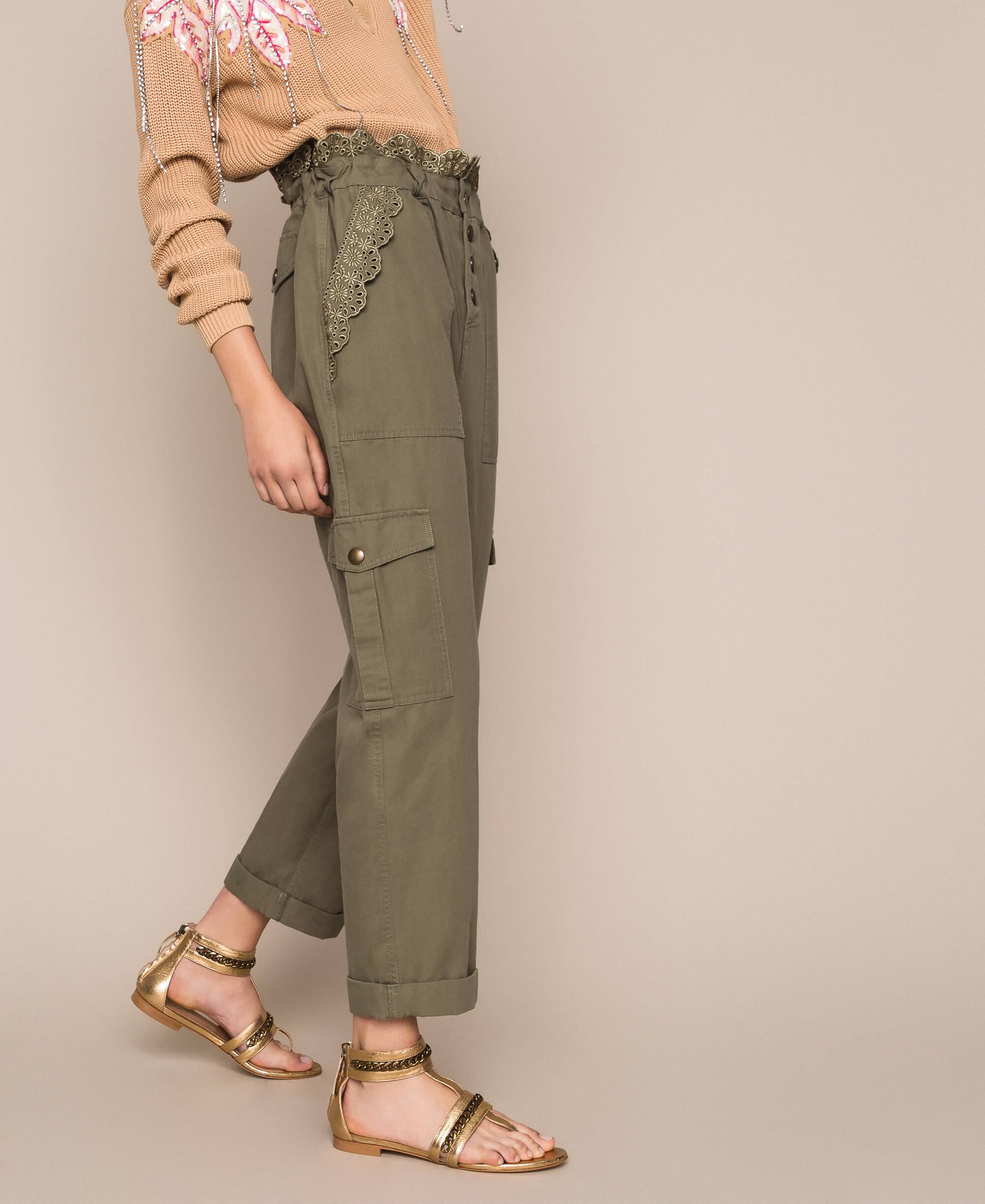 Ladies Pants  Cotton Elasticated Embroidered Anglaise Fashion Trousers