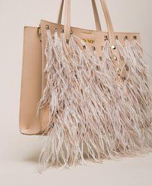 Сумка-шоппер из искусственной кожи с перьями и стразами Бежевый Cremino женщина 201TA7190-03