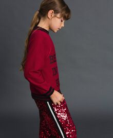 Sweat avec imprimé et bords lurex Rouge Ruby Wine Enfant 192GJ2094-02