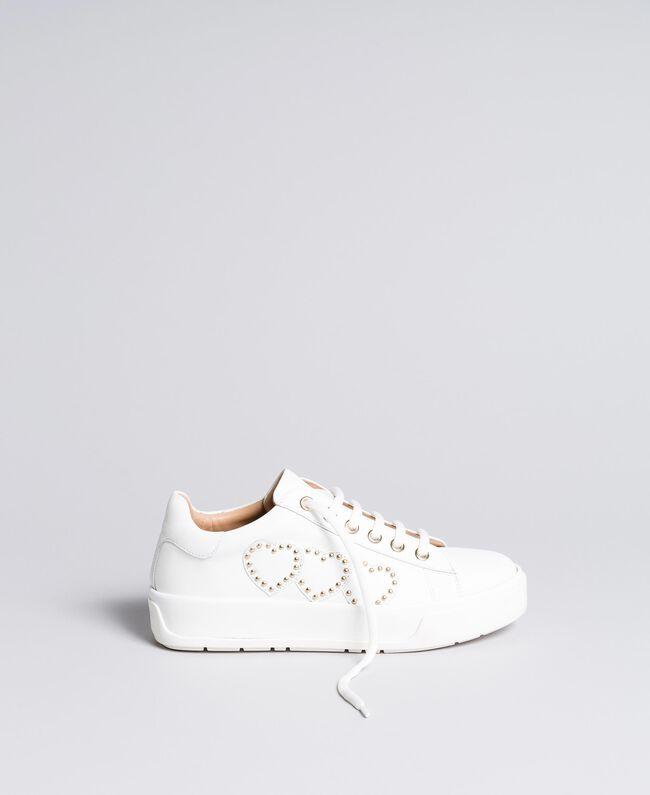 Sneakers aus Leder mit Herzen Weiß Frau CA8PAQ-01