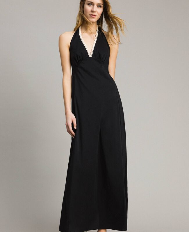 Poplin long dress Black Woman 191LB2JBB-01