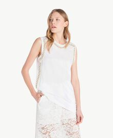 Embroidered tank top White Woman TS829W-01