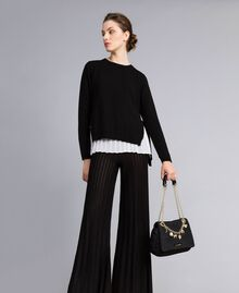"""Wool and cashmere jumper with pleated top Bicolour Black / """"Snow"""" White Woman PA831C-0T"""