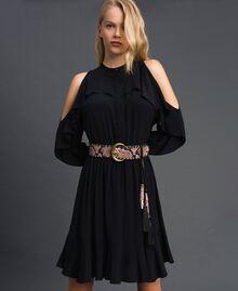"Python print leather belt, regular ""Anthracite"" Grey Python Print Woman 192TA4301-0S"