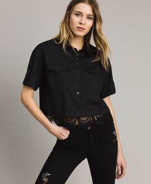 Poplin shirt with lace Black Woman 191TT2238-01