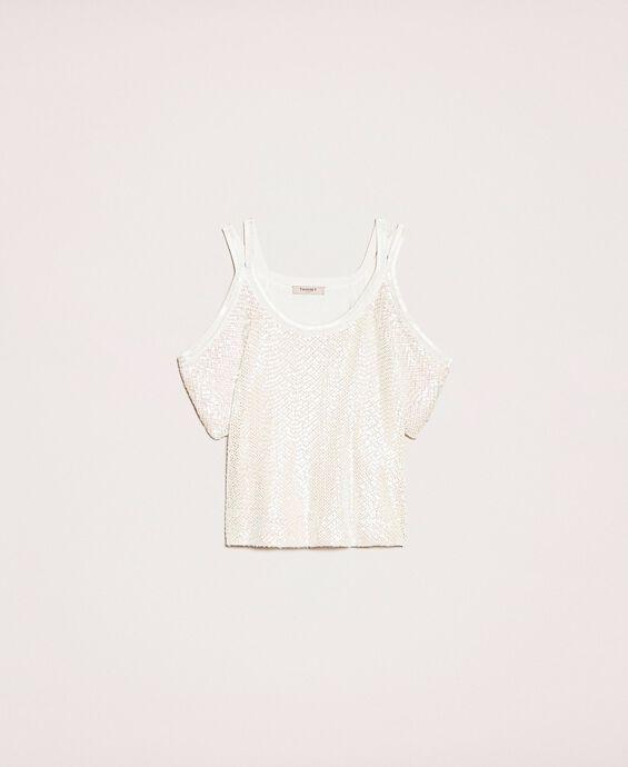 Pullover mit Netzmaschen und Pailletten