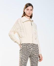 Wool blend biker jacket Parchment White Woman 202TT3191-01