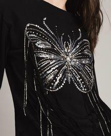 Sweat-shirt avec broderie papillon et franges Noir Femme 191TP2590-01