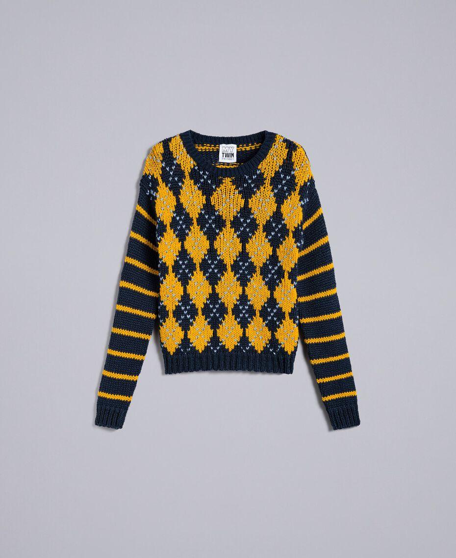 "Jumper with diamond pattern and stripes Multicolour Night Blue / ""Golden Yellow"" / Denim Blue Woman YA83L2-0S"