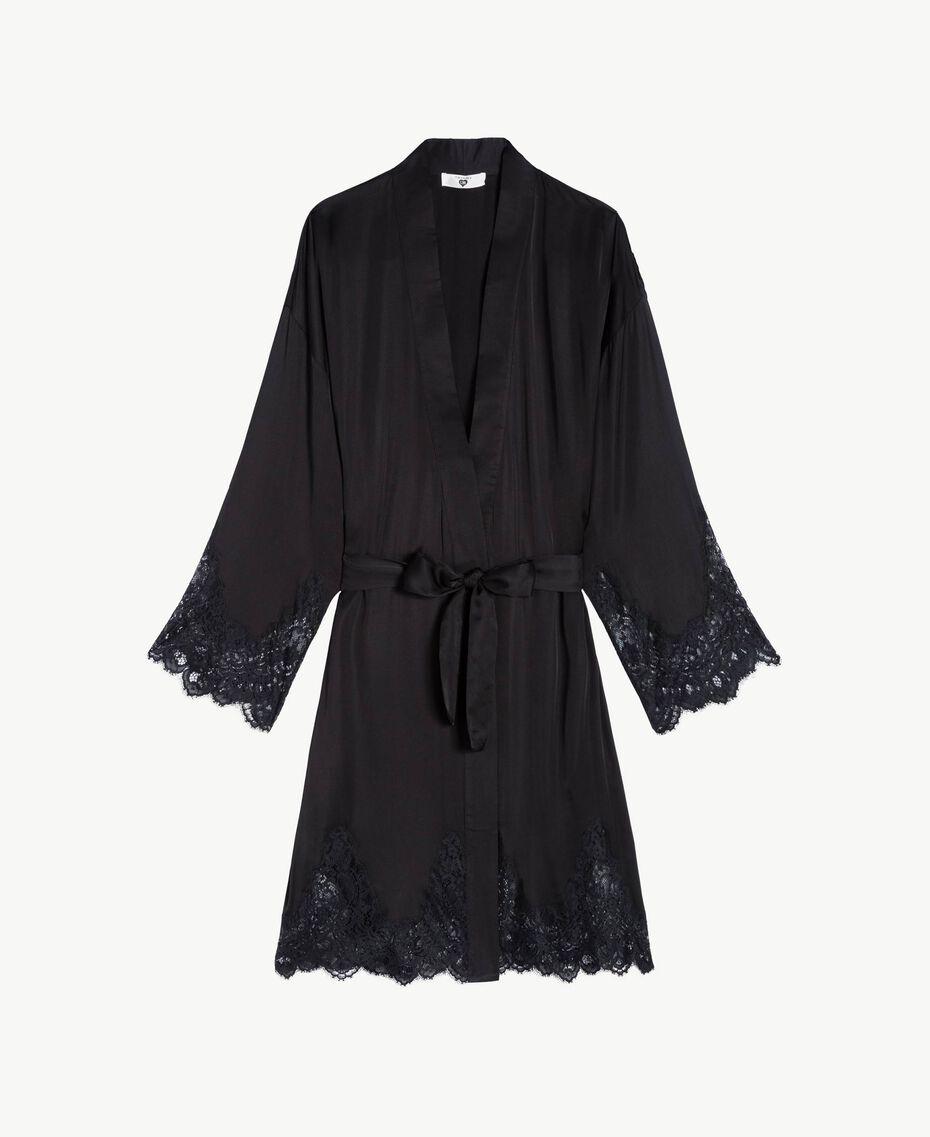 Unterkleid aus Satin Schwarz Frau LS8CKK-01