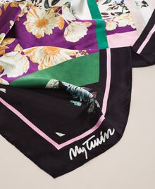 Floral print scarf Black Scarf Print Woman 201MA4303-02