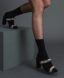 Mules en cuir velours avec strass Noir Femme 192TCP12A-0S