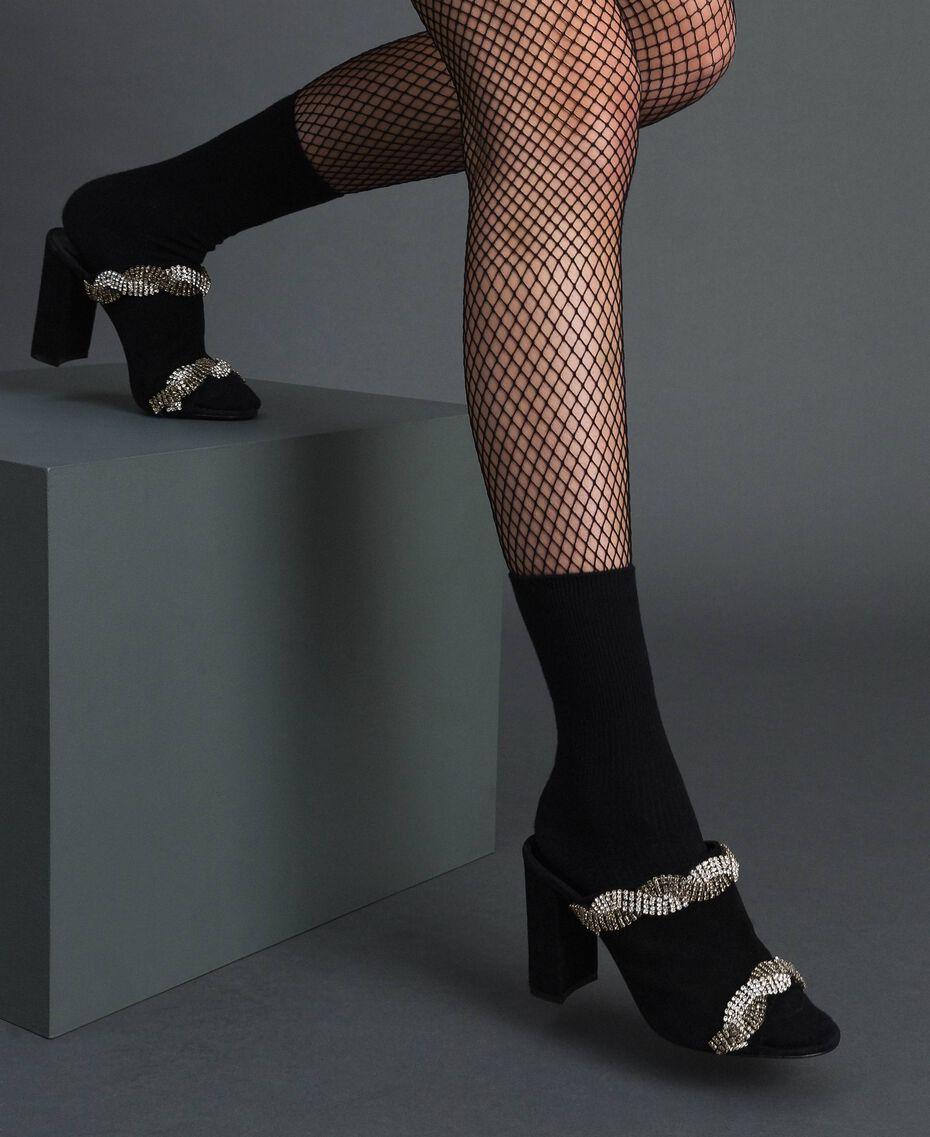 Scarpe mules in pelle scamosciata con strass Nero Donna 192TCP12A-0S