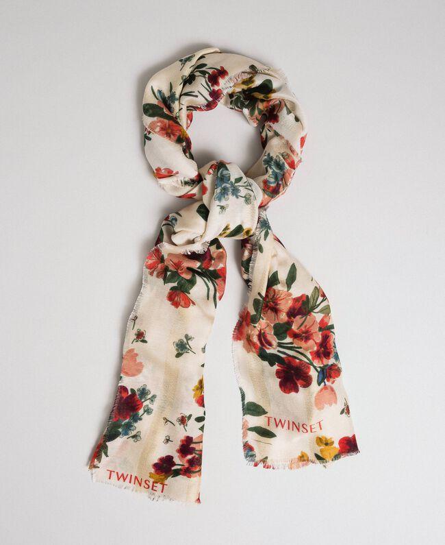 Schal mit Lurexstreifen und Blumenprint Feldblumenprint Ecru Frau 192TA4422-01
