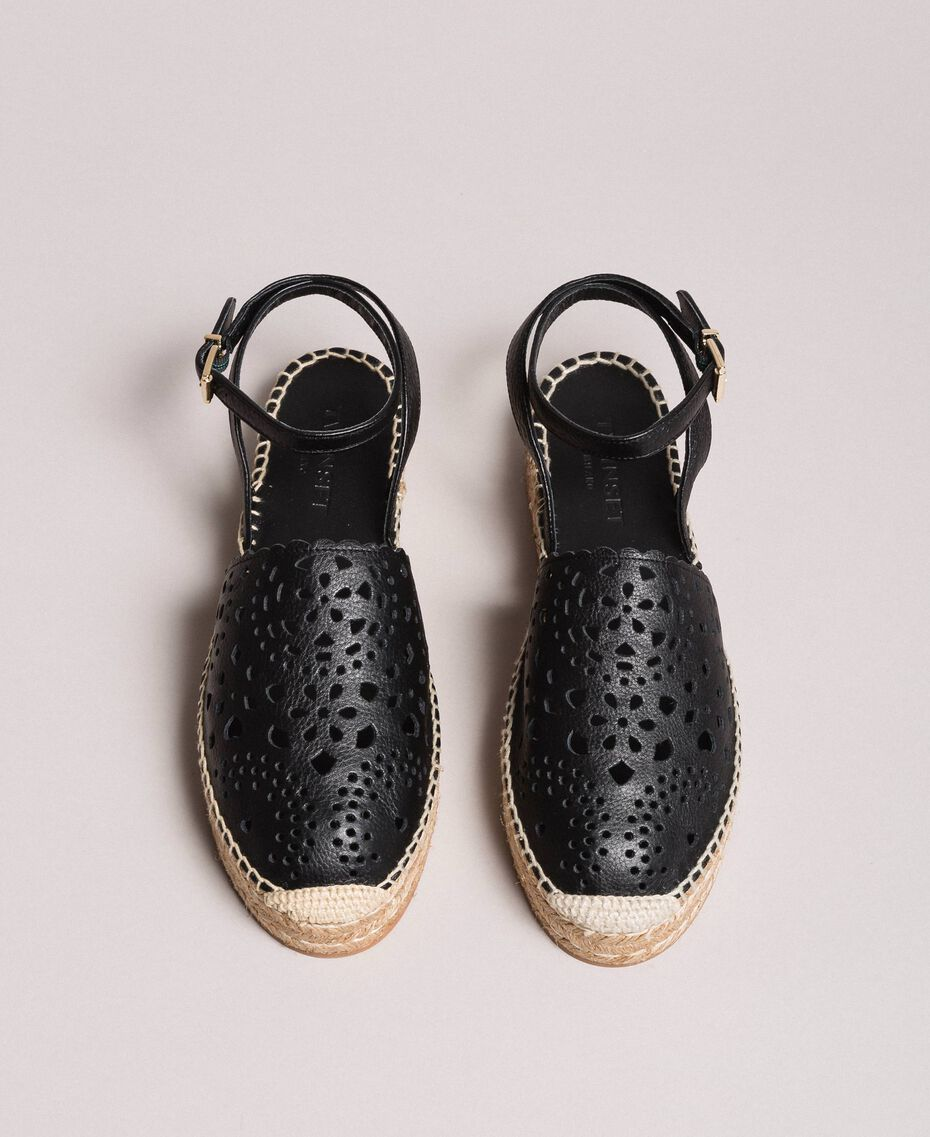 Suede espadrilles with laser embroidery Black Woman 191TCP062-05