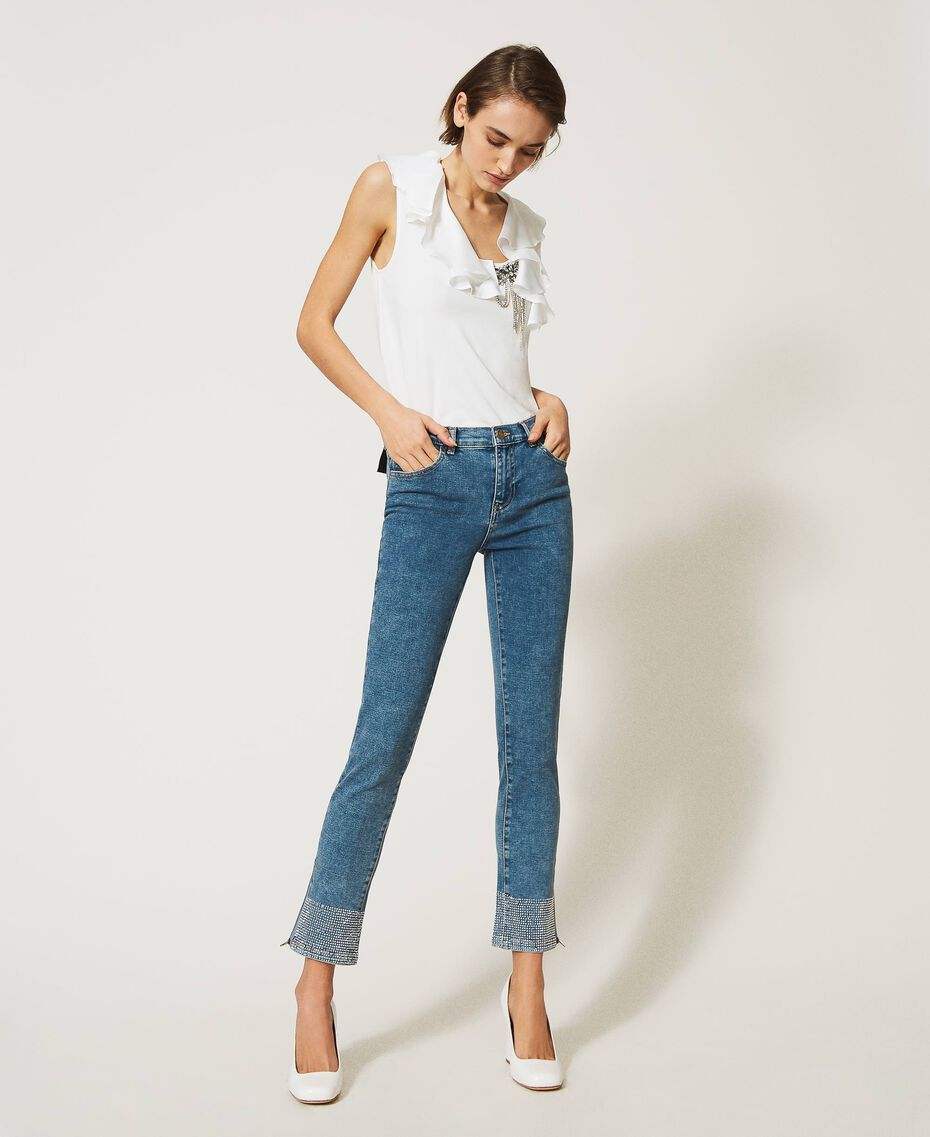 Push up jeans with studs Light Denim Woman 202MP2192-02