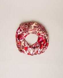 "Paisley print kefiah ""Lava"" Red Cashmere Print/ ""Blossom"" Pink Woman 201TA436C-01"