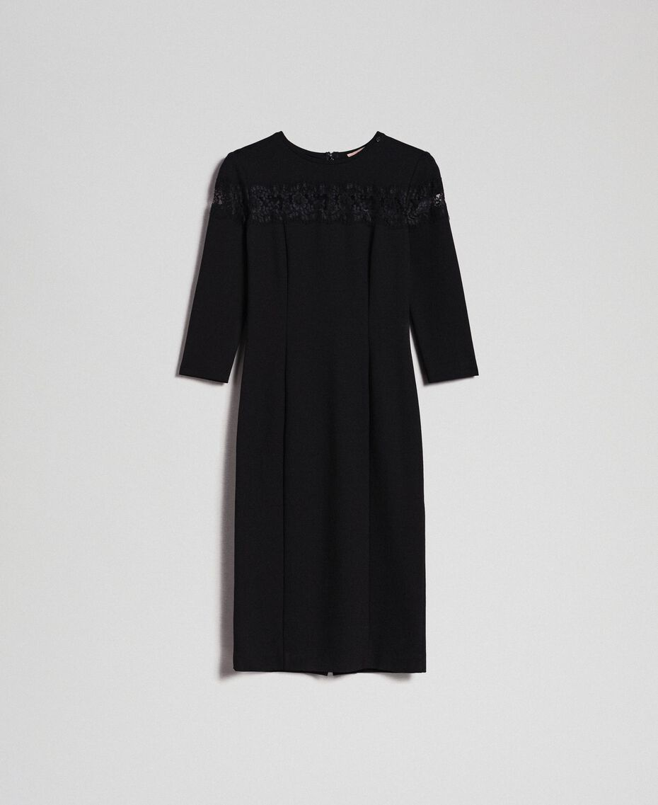 Sheath dress with lace inlay Black Woman 192TP2093-0S