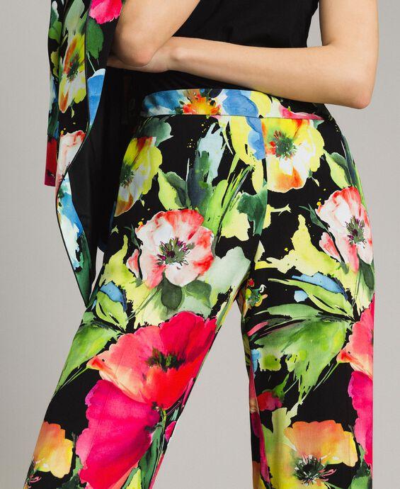 Pantalon en marocaine à imprimé floral