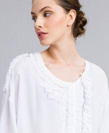Blouse en soie et jersey avec ruches Blanc Femme PA82DC-04