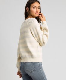 "Two-tone striped jumper with lurex and brooch ""Creamy"" White Striped / Silver Woman 192ST3080-03"