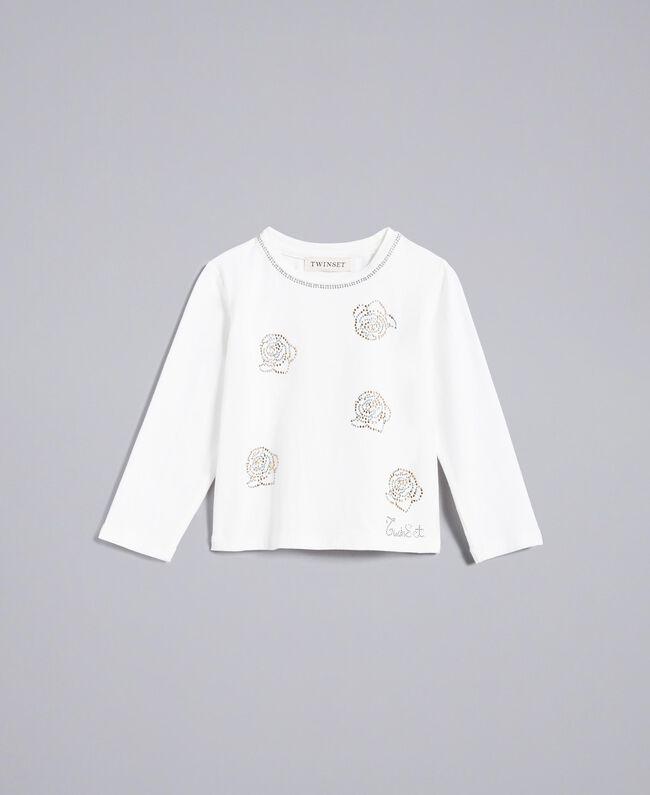 T-Shirt aus Jersey mit Strass Mattweiß Kind FA82SP-01