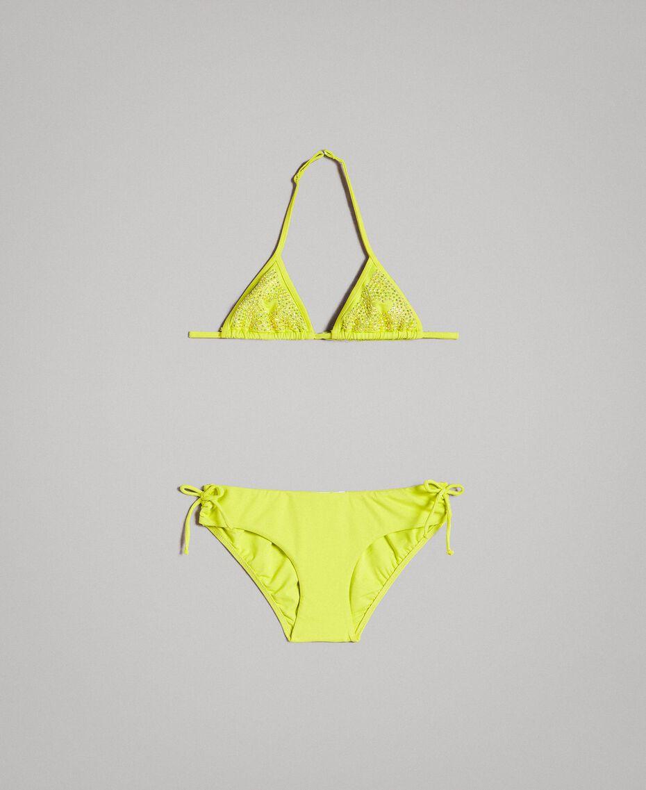 "Triangle bikini with rhinestones ""Bamboo"" Yellow Child 191GJM904-01"