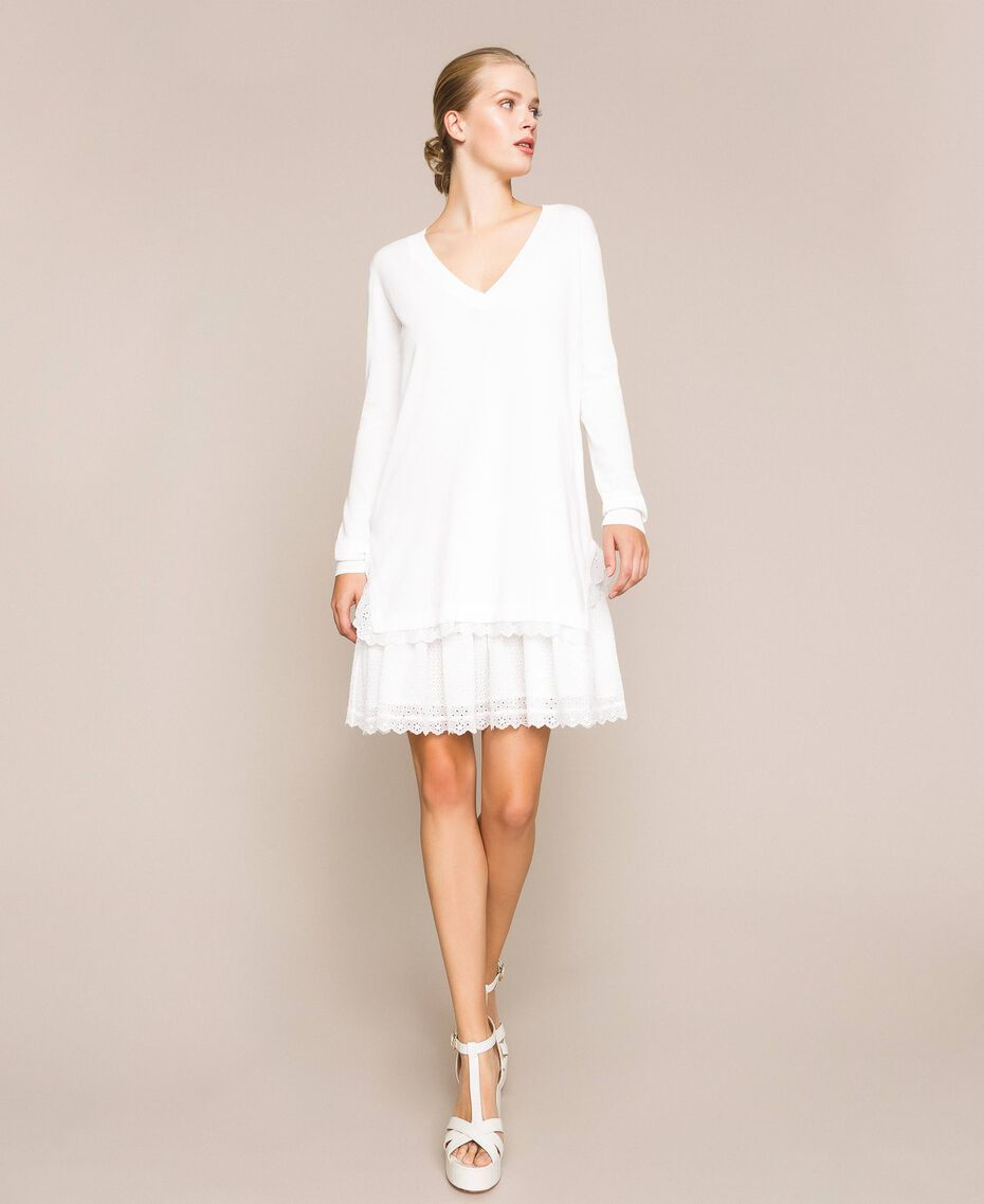 Knitted dress with broderie anglaise flounce White Snow Woman 201TP3041-01