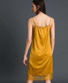 Satin and lace slip Saffron Yellow Woman 192MP2132-03