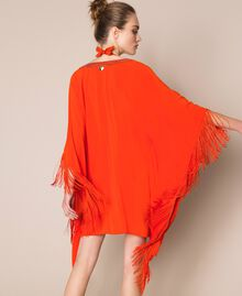 "Kimono-style kaftan with fringes ""Ace"" Orange Woman 201LB2CLL-04"