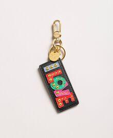 Schlüsselanhänger aus Kunstleder mit Nieten Schwarz Frau 191MA7131-01