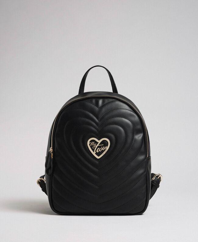Sac à dos en similicuir avec cœurs matelassés Noir Femme 192MA7082-01