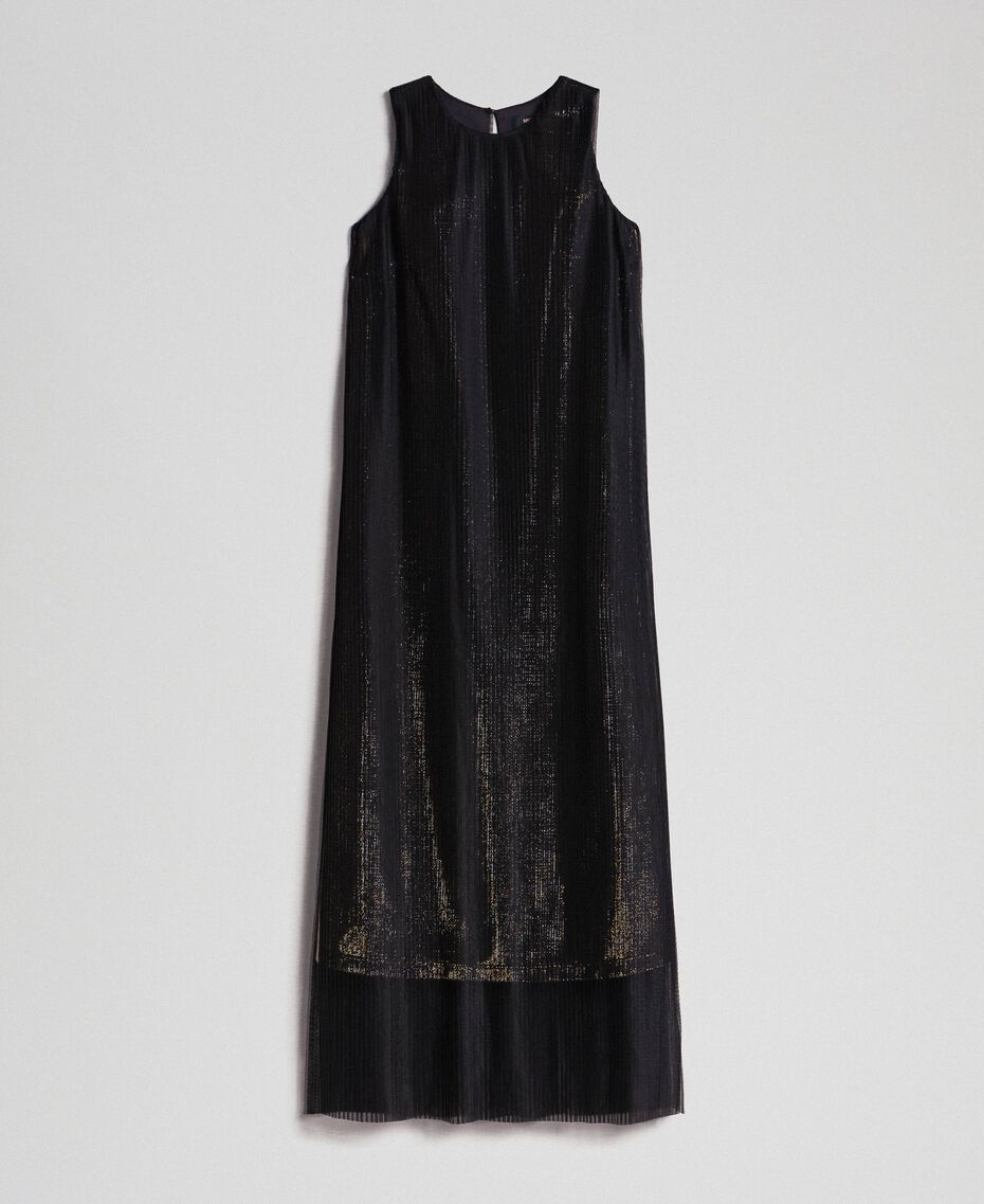 Metal effect long dress with tulle Black Gold Woman 192MT2192-0S
