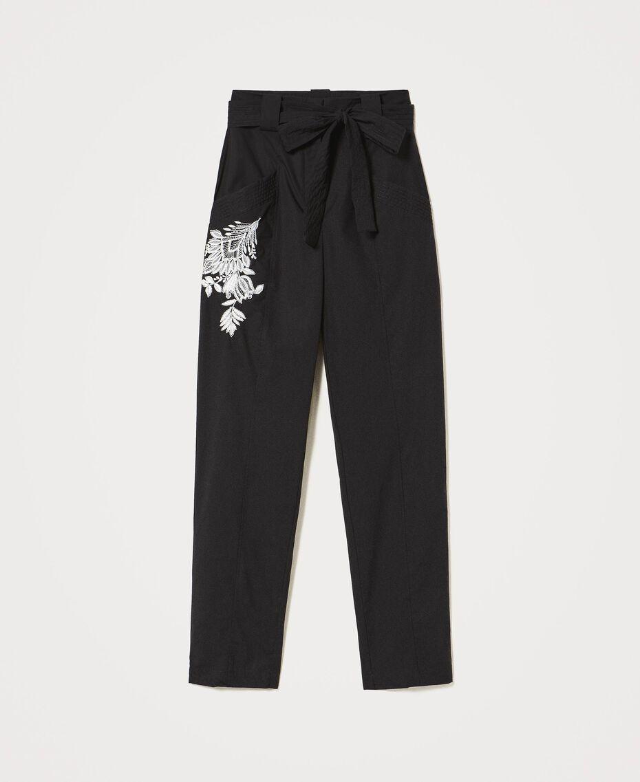 Pantalon en popeline avec broderie Noir Femme 211TT2473-0S
