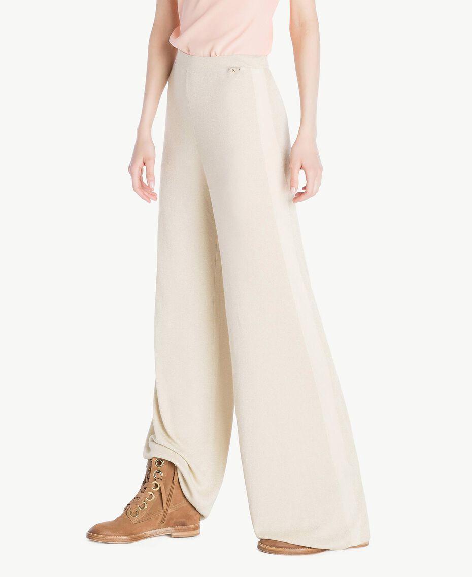 Pantalon palazzo Jacquard Lurex Ivoire Femme SS83EE-02